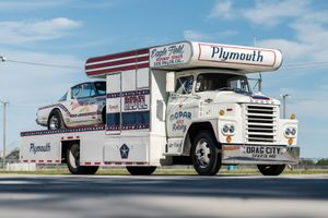 "1966 Plymouth Barracuda  - ""Leggin' it"" Drag Car with 1965 Dodge C-500 Hauler"